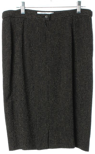 MAXMARA Black Beige Wool Blend Knee Length Straight Skirt