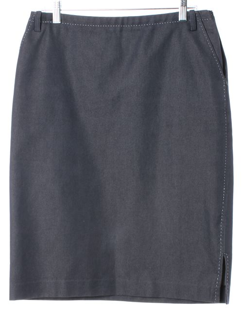 MAXMARA Blue Stretch Cotton Knee-Length Denim Pencil Skirt