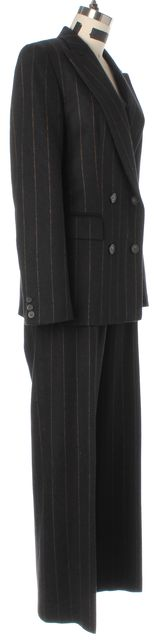 MAXMARA Black Pinstriped Felted Wool Two Button Blazer Pant Suit Set