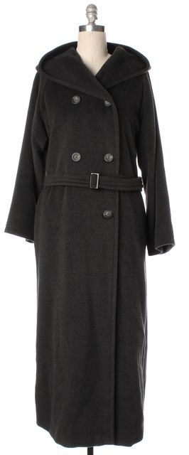 MAXMARA Gray Wool Cashmere Hooded Double Breasted Belted Full Length Coat