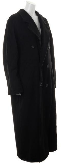 MAXMARA Black Wool Double Breasted Full Length Basic Coat