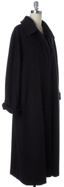 MAXMARA Black Felted Virgin Wool Full Length Winter Coat w Pockets