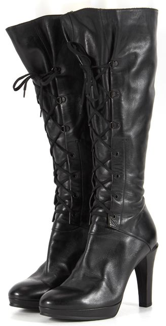 MAXMARA Black Leather Lace Up Knee-high Boot Boots