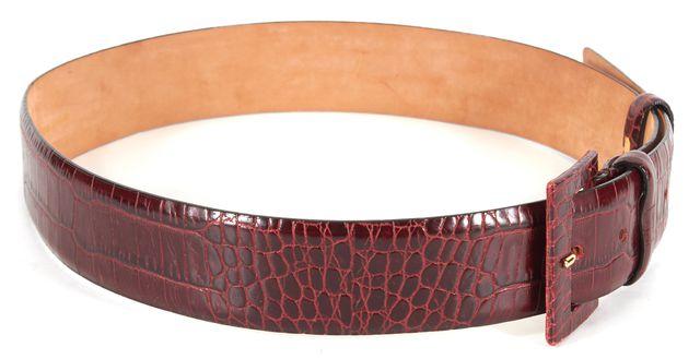 MAXMARA Red Animal Print Embossed Leather Belt