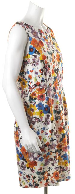 MAXMARA Ivory Red Blue Floral Sleeveless Knee-Length Sheath Dress