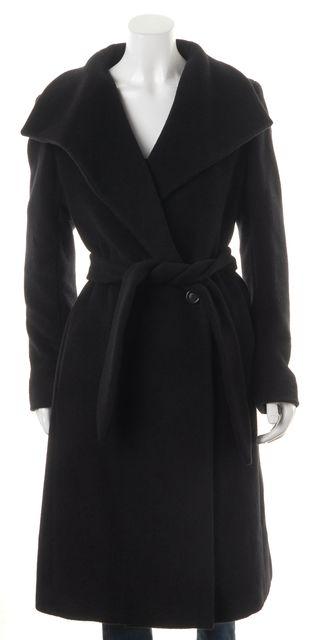 MAXMARA Black Virgin Wool Mary Long Belted Basic Coat