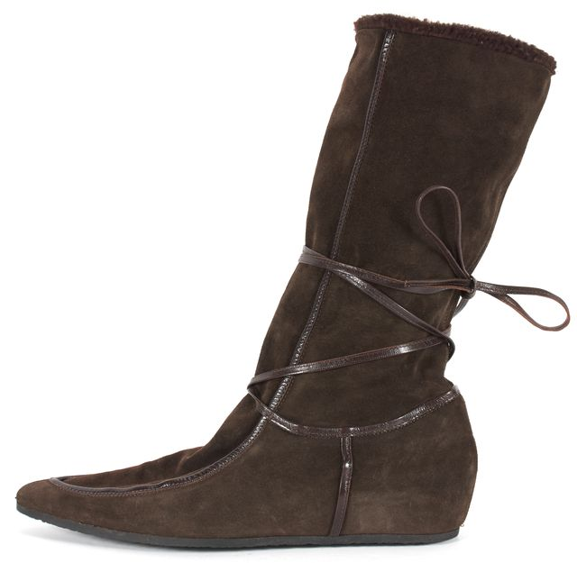 MAXMARA Brown Suede Mid-Calf Boots Size Fits Like10