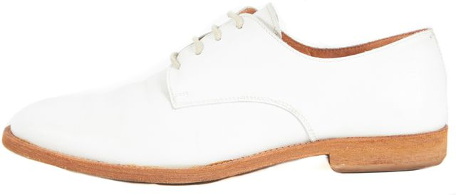 MAXMARA White Leather Flat Oxfords