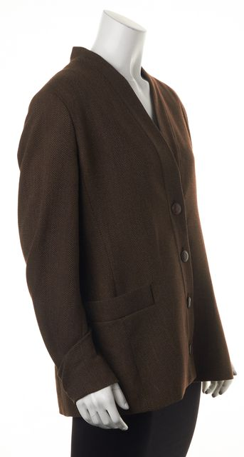 MAXMARA Brown Wool Blend Basic Button Down 2 Pocket Jacket