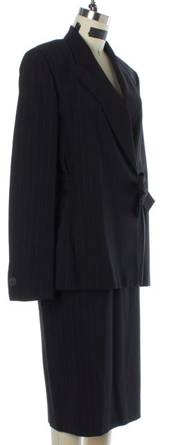 MAXMARA Black Wool Striped Skirt Suit Set US 10 IT 46