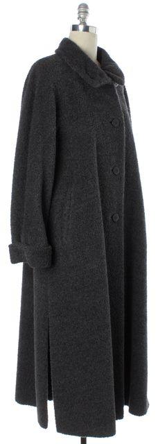 MAXMARA Gray Alpaca Wool Button Front Long Basic Coat