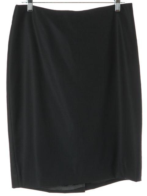 MAXMARA Black Wool Back Slit A-Line Skirt