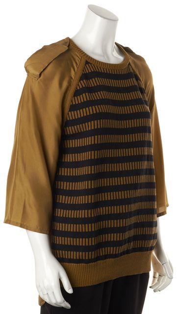 MAXMARA Brown Black Striped Silk Combo Blouse Top