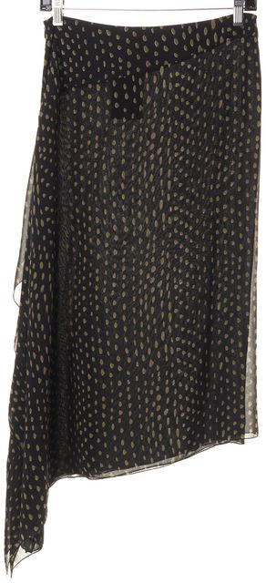 MAXMARA Black Olive Polka Dot Silk Asymmetrical Skirt