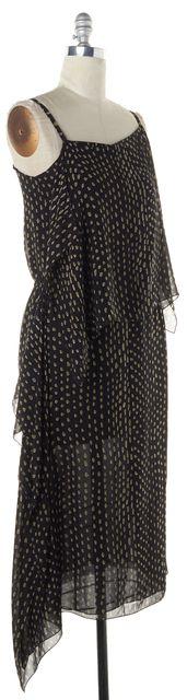 MAXMARA Black Tan White Spot Abstract Print Crepe Silk Maxi Dress