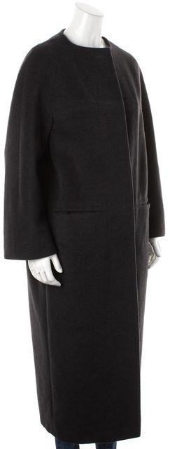 MAXMARA Gray Virgin Wool Button Up Long Basic Coat