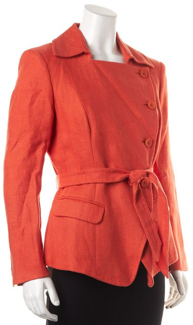 MAXMARA Orange Linen Button Front Belted Basic Jacket