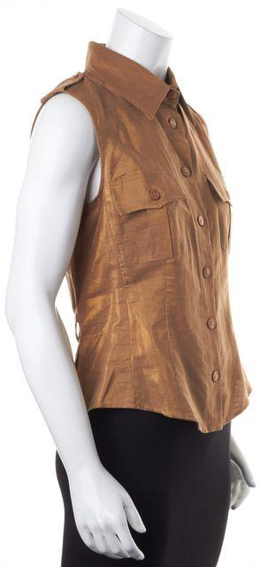 MAXMARA Antique Metallic Gold Sleeveless Button Down Shirt Top