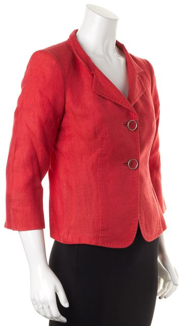 MAXMARA Blood Orange Linen 3/4 Sleeve Double Button Blazer