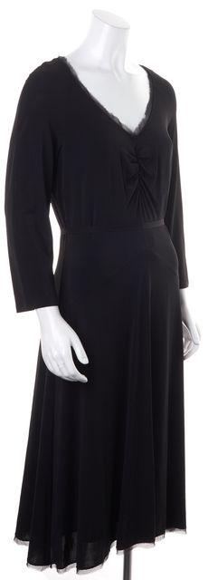 MAXMARA Black Long Sleeve V-Neck Waist Tie Midi Sheath Dress