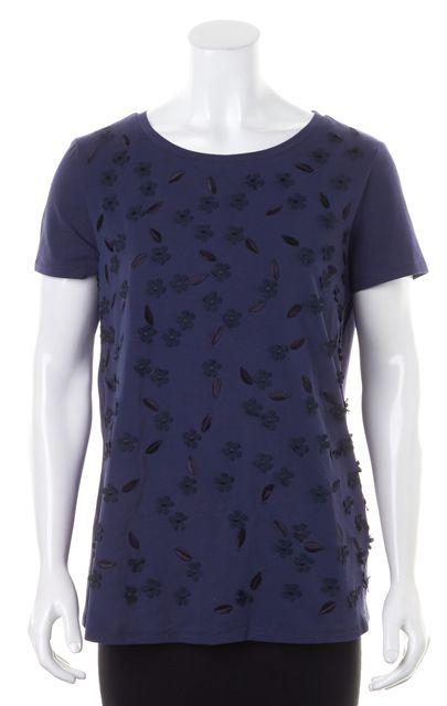 MAXMARA Dark Blue Navy Embroidered Floral Embellished Crewneck T-Shirt