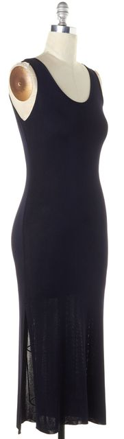MAXMARA Navy Blue Knit Sleeveless Scoop Neck Side Slit Maxi Dress