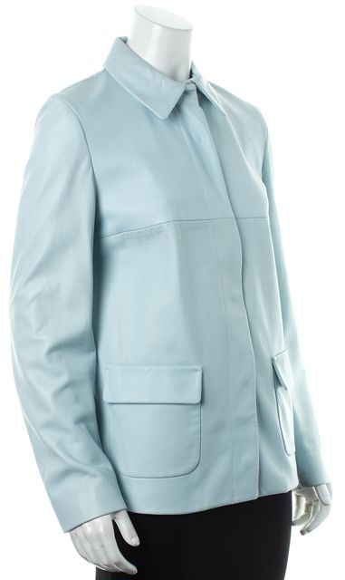 MAXMARA Powder Blue Hidden Button Leather Jacket
