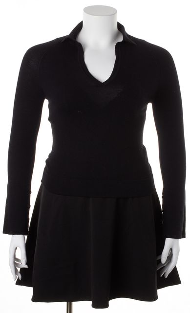 MAXMARA Solid Black Casual Wool V-Neck Sweater