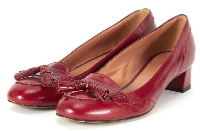 MAXMARA Maroon Red Leather Loafer Block Heels