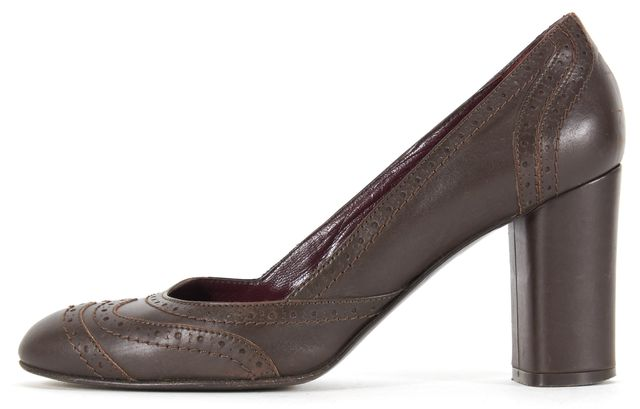 MAXMARA Chocolate Brown Leather Pump Block Heels