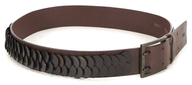 MAXMARA Brown Black Scale Texture Embellished Leather Belt
