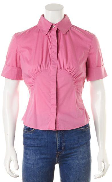 MAXMARA Bright Pink Ruche Center Fit Short Sleeve Button Down Shirt