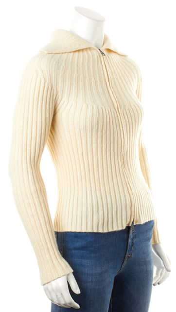 MAXMARA Ivory Wool Zipped Cable Knit Turtleneck Sweater