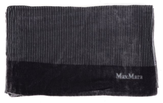 MAXMARA Gray Striped Geometric Velvet Reversible Scarf
