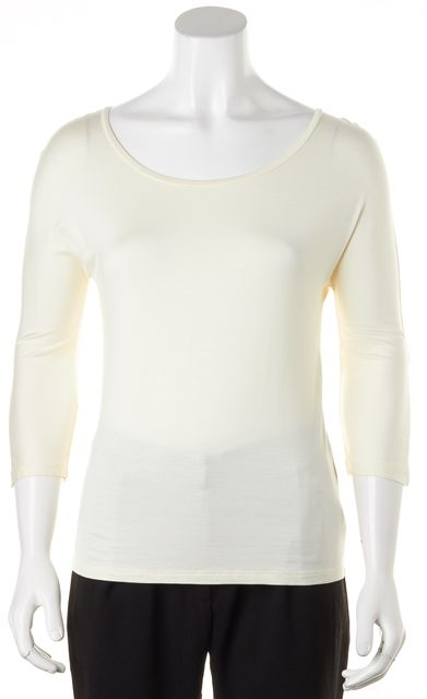 MAXMARA Ivory Jersey 3/4 Sleeves Basic Tee T-Shirt
