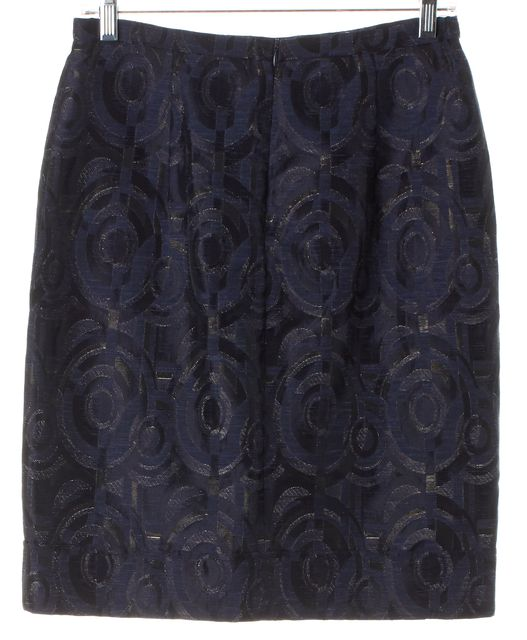 MAXMARA Blue Metallic Geometric Embroidered Straight Skirt