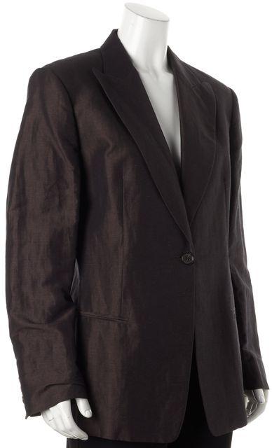 MAXMARA Brown Linen One Button Blazer Career Pant Suit Duo Set