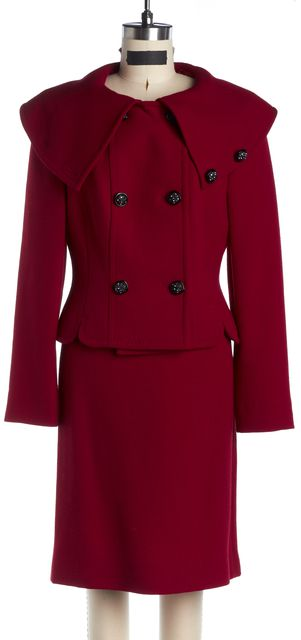MAXMARA Red Textured Wool Crystal Button Skirt Suit Set