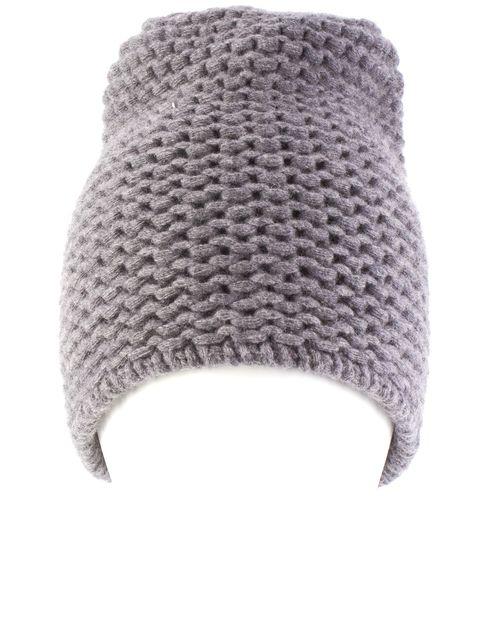 MAXMARA Gray Chunky Knit Wool Beanie Hat