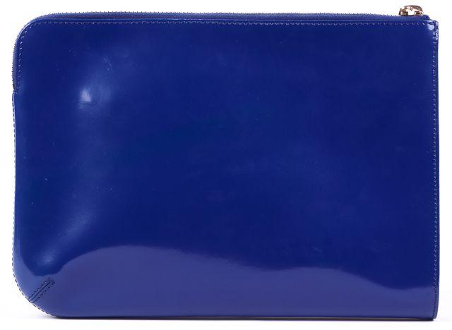 MAXMARA Blue Gold Tone Hardware Patent Leather Zip Lock Clutch Bag