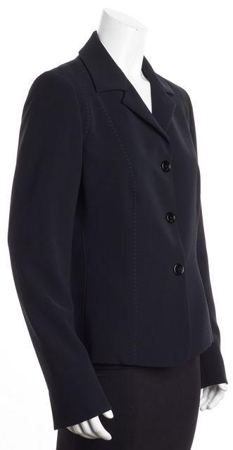 MAXMARA Black Stitching 3-Button Blazer