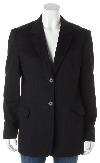 MAXMARA Black Wool Two Button Two Pocket Detailed Career Blazer