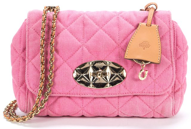 MULBERRY Pink Quilted Denim Lilly Crossbody Shoulder Bag