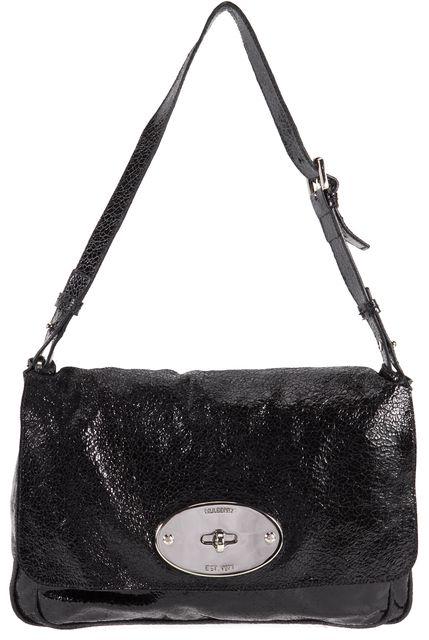 MULBERRY Black Cracked Leather Bayswater Clutch Shoulder Bag