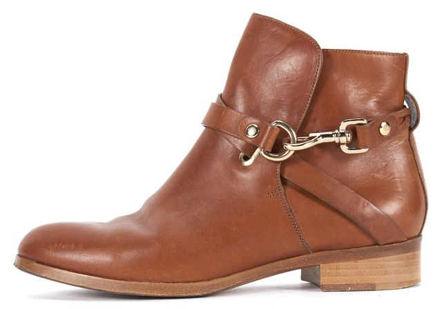 MULBERRY Brown Leather Dorset Flat Ankle Boots