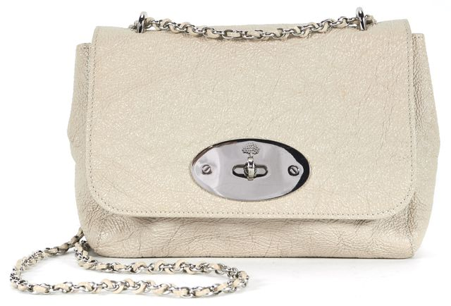 MULBERRY Beige Embossed Leather Silver Chain Strap Shoulder Bag
