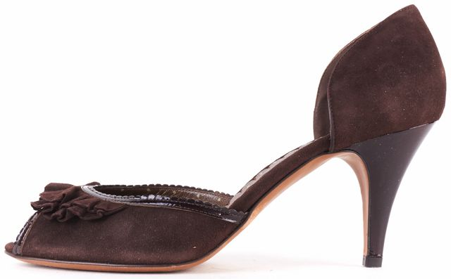 MOSCHINO CHEAP & CHIC Brown Suede Peep Toe Ruffle D'orsay Heels