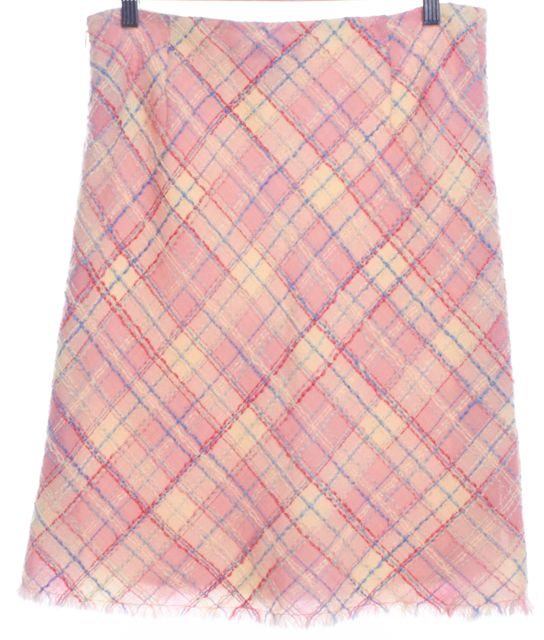MOSCHINO CHEAP & CHIC Pink Ivory Check Wool Stretch Knit Skirt