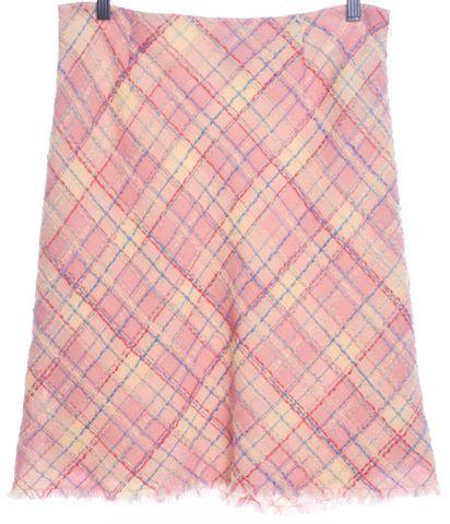 MOSCHINO CHEAP & CHIC Pink Ivory Check Wool Stretch Knit Skirt