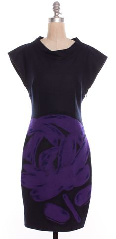 MOSCHINO CHEAP & CHIC Black Purple Abstract Wool Sheath Dress